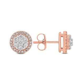 10k Rose Gold in 1/3ct TDW Diamond Cluster Earrings