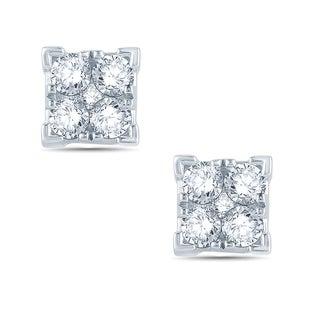 10k white  1/2ct TDW Diamond Composite square shape fashion Earring.