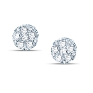 Beautiful composite Earring, 10k white gold in 1ct  TDW White diamonds