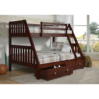 Donco Kids Mission-Style Dark Cappuccino Twin-over-Full Bunk Bed with 2 Storage Drawers