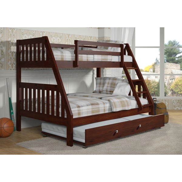 shop donco kids mission style dark cappuccino twin over full bunk bed with trundle bed on sale. Black Bedroom Furniture Sets. Home Design Ideas