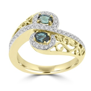 La Vita Vital 18k Yellow Gold 1/4ct TGW Oval-cut Color-changing Alexandrite and Diamond Accent Ring (G-H, SI1-SI2)