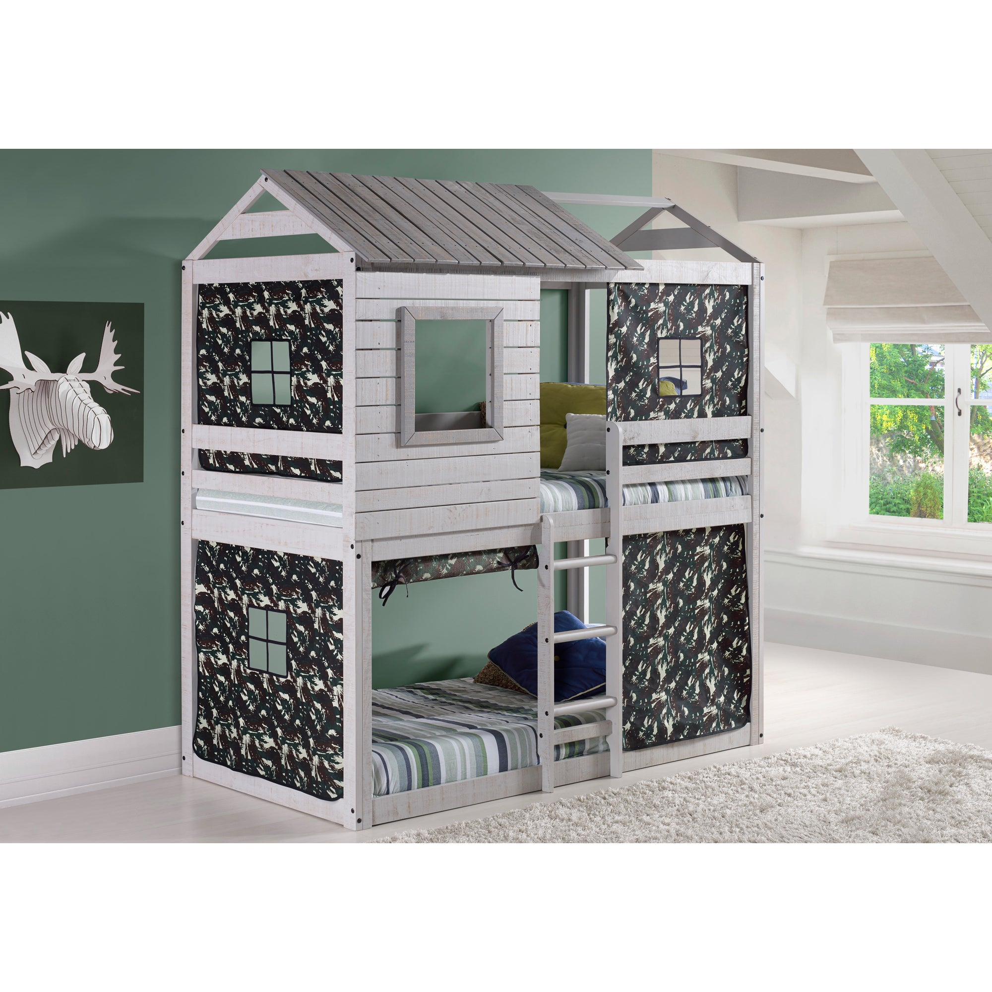 Donco Kids Loft-Style Light Grey Twin-over-Twin Bunk Bed ...