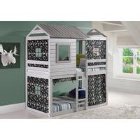 Donco Kids Loft-Style Light Grey Twin-over-Twin Bunk Bed with Green Camo Tent Kit