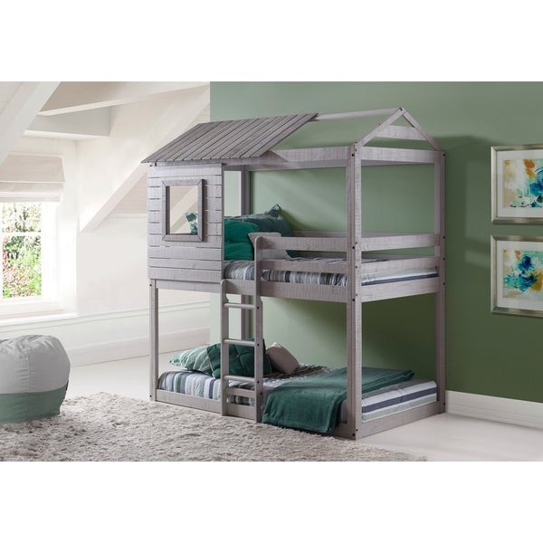 Donco Kids LoftStyle Light Grey Twin over Twin Bunk Bed Free