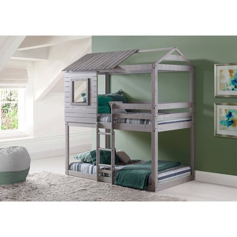 Donco Kids Loft-Style Light Grey Twin over Twin Bunk Bed