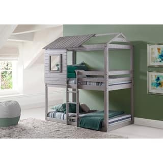 Donco Kids Loft-Style Light Grey Twin over Twin Bunk Bed|https://ak1.ostkcdn.com/images/products/13751471/P20407849.jpg?impolicy=medium