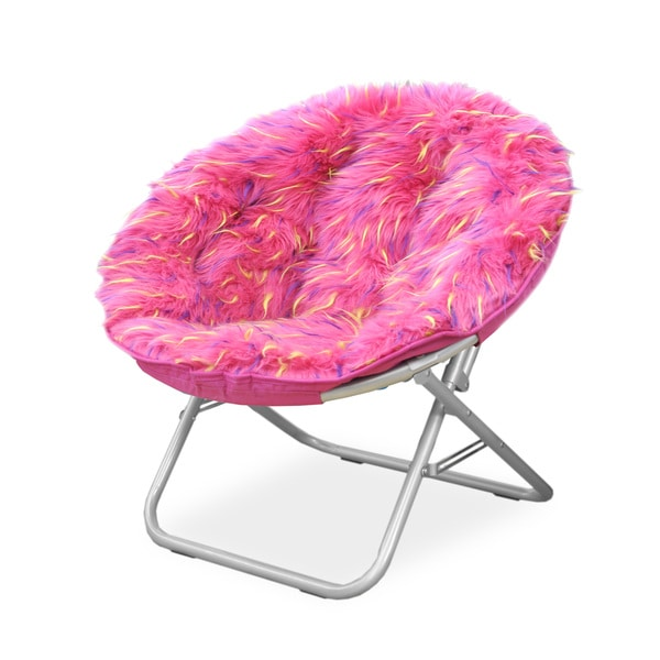 Spiker Pink Faux Fur And Metal Frame Saucer Chair Free