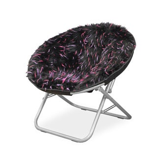 Spiker Pink Faux Fur and Metal Frame Saucer Chair