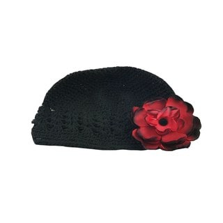 Boutique Crochet Hat with Red Flower Clip