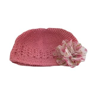 Boutique Crochet Hat with Pink and White Flower Clip