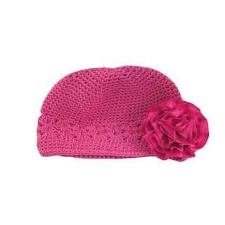 Boutique Crochet Hat with Hot Pink Satin Flower Clip