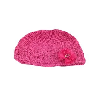 Boutique Crochet Hat with Hot Pink Gem Flower Clip
