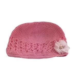 Boutique Crochet Hat with Light Pink Gem Flower Clip