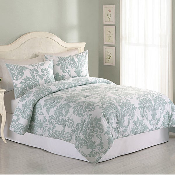 Peking Handicraft Eliza Blue 3 Piece Comforter Set