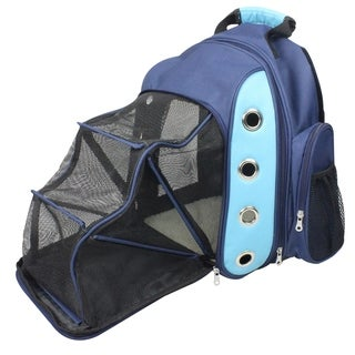 Iconic Pet FurryGo Blue Luxury Backpack Pet Carrier with Lounge