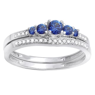 10k White Gold 2/5ct TW Round Blue Sapphire and White Diamond 5-stone Bridal Set (H-I, I1-I2 )