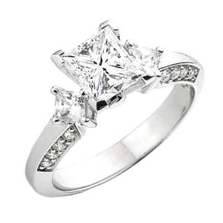 14k Gold 1/4ct TDW Princess and Round Diamond Bridal Engagement Ring (I-J, I1-I2)