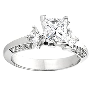 14k Gold 1/4ct TDW Princess and Round Diamond Bridal Engagement Ring (I-J, I1-I2)
