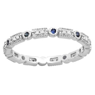 14k Gold Round 1/4ct TW Blue Sapphire and White Diamond Vintage Wedding Stackable Ring (I-J, I2-I3)