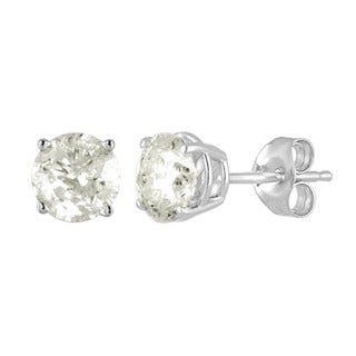De Couer 10k White Gold 1ct TDW Diamond Stud Earrings (I-J, I2-I3)