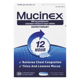 Mucinex  Expectorant Regular Strength, 20 Tablets/Box