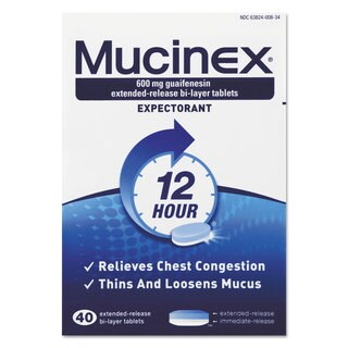Mucinex Expectorant Regular Strength, 40 Single Wrapped Tablets/Box