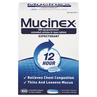 Mucinex Expectorant Regular Strength, 100 Tablets/Box, 12 Box/Carton