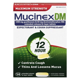 Mucinex DM Max Strength Expectorant and Cough Suppressant, 14 Tablets/Box