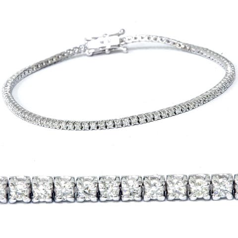 14k White Gold 2 1/2 ct TDW Diamond Tennis Bracelet