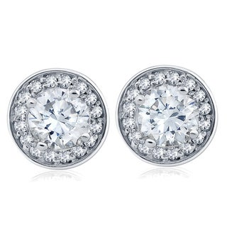 14k White Gold 1 ct TDW Diamond Halo Studs (I-J,I2-I3)