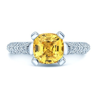 18k White Gold Yellow Sapphire and 3/4ct TDW Diamond Ring Ring Size 5 (H-I, SI1-SI2)