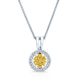 14k Two-tone Gold Yellow Sapphire and 1/6ct TDW Diamond Halo Pendant (17-in Wheat Chain)