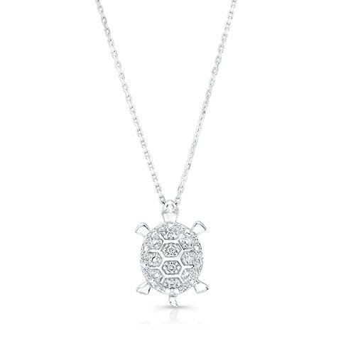 14k White Gold White Diamond Accent Turtle Pendant