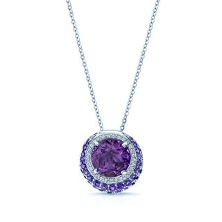 Amethyst (2.08 ct. TGW) and White Diamond (0.15 ct. TDW) 14k White Gold Crescent Halo Pendant (H-I, SI1-SI2)