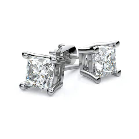 14k White Gold 4-prong Princess Diamond Stud Earrings 1/2ctw (3.5mm Ea)