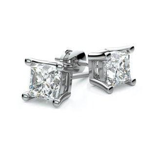14k White Gold 4-prong Princess Diamond Stud Earrings 1/2ctw (3.5mm Ea) F-G, VS