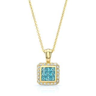 14k Yellow Gold Blue Topaz and 5/8ct TDW Diamond Cube Pendant (H-I, SI1-SI2)