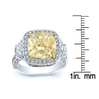 Gia Fancy Yellow Diamond (5.48 ct.) and White Diamonds (1.52 ct.) (7 ct. TDW) Halo Platinum Engagement Ring