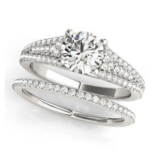 Transcendent Brilliance 14k Gold Matching Triple Row 1 1/10ct TDW Diamond Bridal Set (F-G, VS1-VS2)