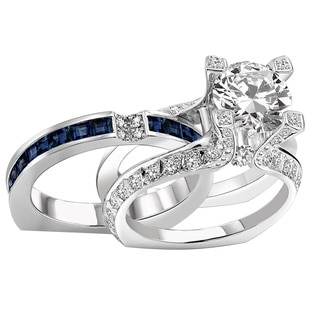 14k White Gold 2 1/2 TDW Split Shank Diamond Bridal Ring Wedding Set (F-G, VS1-VS2)