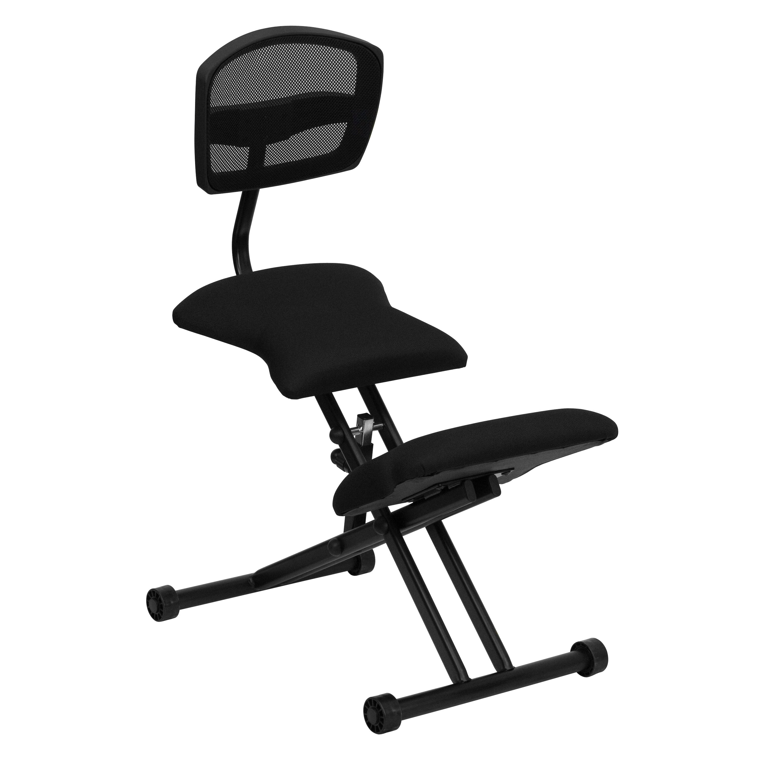 Black Ergonomic Kneeling Chair with Mesh Back and Fabric ...