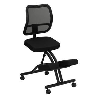 Black Fabric Curved Mesh Back and Padded Seat Mobile Kneeling Chair