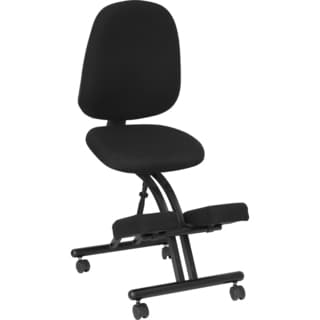 Black Fabric Mobile Kneeling Posture Chair with Depth-adjustable Back
