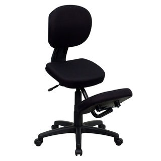 Black Fabric Mobile Kneeling Posture Office Chair with Padded Seat and Knee Rest