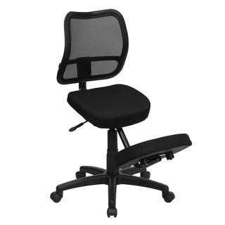Black Mobile Ergonomic Kneeling Office Chair with Curved Mesh Back and Fabric Seat