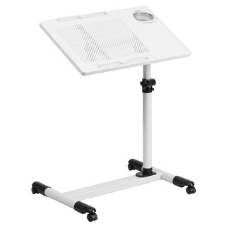Jude Height Adjustable White Steel Mobile Computer Desk with Pen and Cup Holder