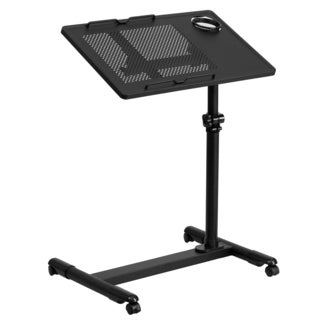 Jude Black Steel Height-adjustable Mobile Computer Desk with Pen and Cup Holder