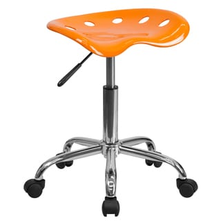 Eller Orange and Chrome Steel Tractor Seat Stool