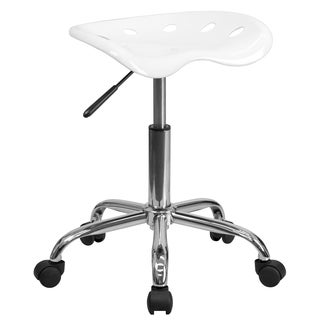Eller Vibrant White Polymer Tractor Seat Stool with Chrome Base